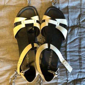 Franco Sarto black & white sandals